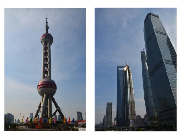 In Pudong,  dem neuen Stadtteil von Shanghai steht das World Financial Center.  (Das Hochhaus sieht aus ein riesiger Flaschenöffner) Wir waren oben im 100sten Stock. Auf 474 m ist die Aussichtsplattform.