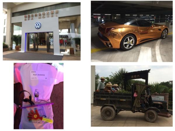 SVW Händlerkongress auf  Hainan; Goldener Ferrari am Flughafen, hier zeigt man was man hat; VIP Stuhl mit Übersetzungsset und Klatschpatsche und Leuchtwinkstab; Hotelgärtner auf dem Weg zur Arbeit