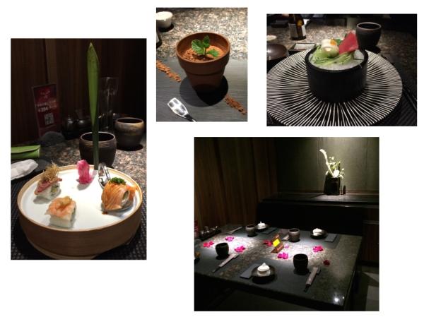 """Beim Lieblingsjapaner in Pudong, 8. Stock Im Blumentöpfchen ist """"japanisches Tiramisu"""""""